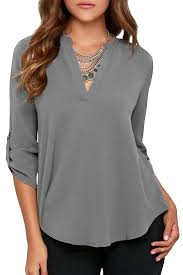 sleeve chiffon blouse v neck sleeve chiffon blouse azbro com