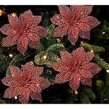pack of 12 glitter poinsettia tree