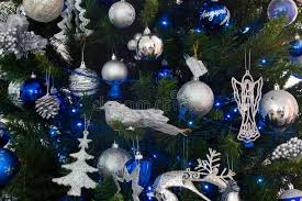 blue and silver decorations of tree stock image image