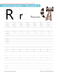 tracing letter r with raccoon free worksheets for kids