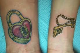 lovely heart lock n key tattoo for couples photos pictures and