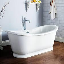 bathroom wood tile floors and freestanding bathtub with tub