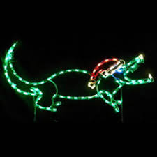 small alligator with santa hat led lighted outdoor lawn decoration