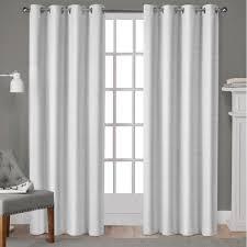 Winter Window Curtains Whitby Winter White Metallic Slub Yarn Textured Silk Look Grommet