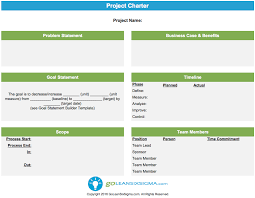 Six Sigma Project Charter Template Excel Project Charter Template Exle