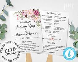 Diy Wedding Ceremony Program Fans Wedding Program Fan Template Calligraphy Script Printable