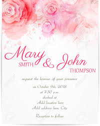 wedding invitation template with abstract roses on watercolor