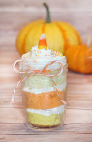 candy corn cakes in a jar