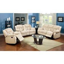 furniture of america barbz 3 piece ivory bonded leather recliner