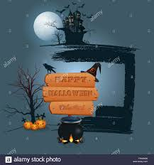 halloween celebration background with a magic cauldron wooden