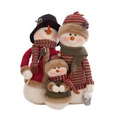 rustic snowman family decoration