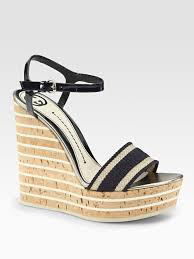 ribbon wedges lyst gucci web patent leather and grosgrain ribbon wedge sandals