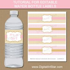 tutorial for pink u0026 gold editable water bottle label template