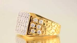 mens gold rings 14k solid yellow gold mens diamond nugget ring