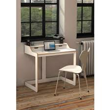 modern white computer desk gray polished pipe steel based desk with white solid wood trays