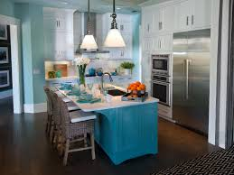 fresh blue white two toned cabinets in kitchen mixed dark chevron