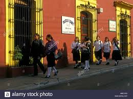 mexican people girls students walking to in the capital