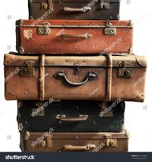 suitcases vintage pile ancient suitcases form tower stock photo 414742600