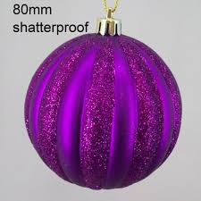 purple decorations 80mm shatterproof christmas baubles purple stripes christmas