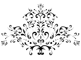 illustration of floral abstract decoration in black and white