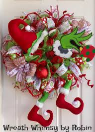 grinch deco mesh wreath in lime green