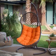 Outdoor Wicker Egg Chair Island Bay Tanna Tear Drop Resin Wicker Egg Chair With Cushion And