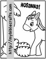 palm sunday coloring page donkey with palm branches hosanna