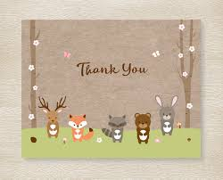 pink woodland forest animals thank you card folded card template