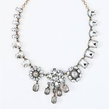 prom necklace asymmetrical flower necklace clear statement