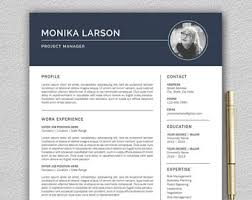 one page resume template one page resume etsy