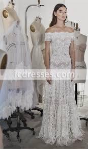 2017 vintage lace wedding dresses off shoulder with short sleeves