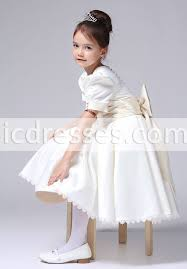 dresses for communion tea length sleeves bow sash button back flower girl dresses