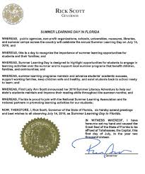 governor rick recognizes summer learning day jacksonville