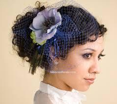 hair fascinator birdcage veil blue birdcage veil with hair fascinator of blue