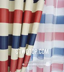 White And Blue Striped Curtains White And Blue Color Poly Flocking Country Curtains No