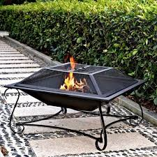 Firepit Wood Metal Pit With Chimney Pit Wood Fireplace Square Steel