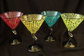 martini glass painting custom hand painted margarita glasses variety of colors by ashley