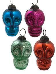mercury glass skull ornament fleurty