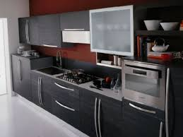 Black Kitchen Cabinet Paint Furniture White Woodmark Cabinets With Modern Refrigerator For