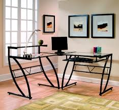 modern glass desk with drawers furniture the best inspiring l shaped office desk with