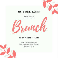 wedding brunch invitation pink floral border wedding brunch invitation templates by canva
