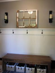 our front hall redo added beadboard hooks bench with baskets