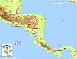 central america physical map central america britannica