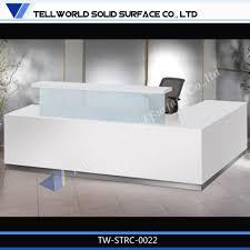 Modern White Reception Desk Acrylic Solid Surface Curved Salon Reception Deskwhite L Shaped