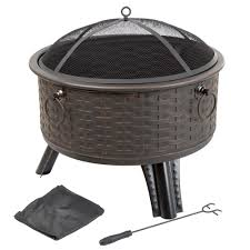 fire truck halloween basket pure garden 26 in steel round woven fire pit with cover m150075