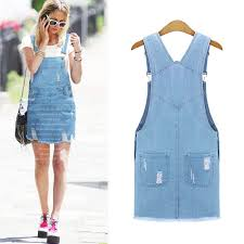 cute lady womens washed casual blue denim overall denim skirt