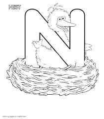 big bird in a nest and the letter n seasame street coloring pages