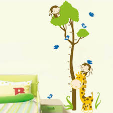 stickers girafe chambre bébé bande dessinée grand arbre girafe hauteur mesure wall sticker