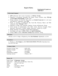 Qtp 2 Years Experience Resume Ec Tech Resume