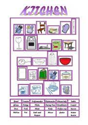 kitchen furniture names teaching worksheets in the kitchen